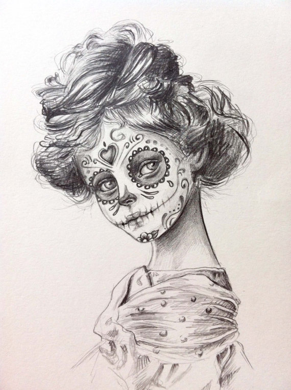 570x763 Day Of The Dead Sugar Skull Girl , Original Drawing Art