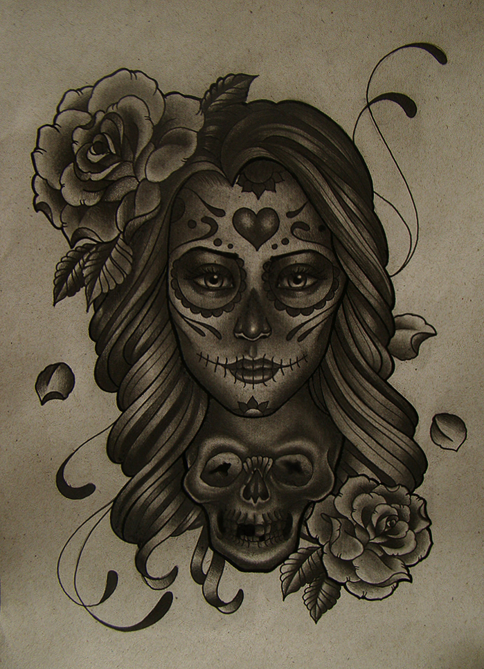 699x967 Mexican Girl Skull By Frah