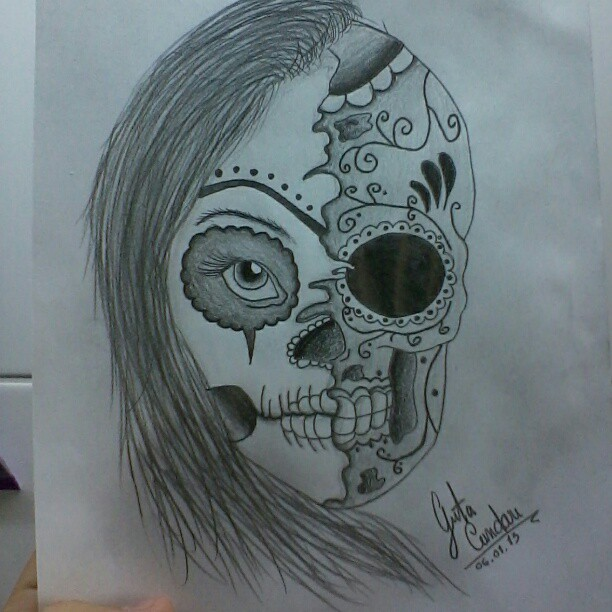 612x612 Mexican Skull Girl By Gutonilda