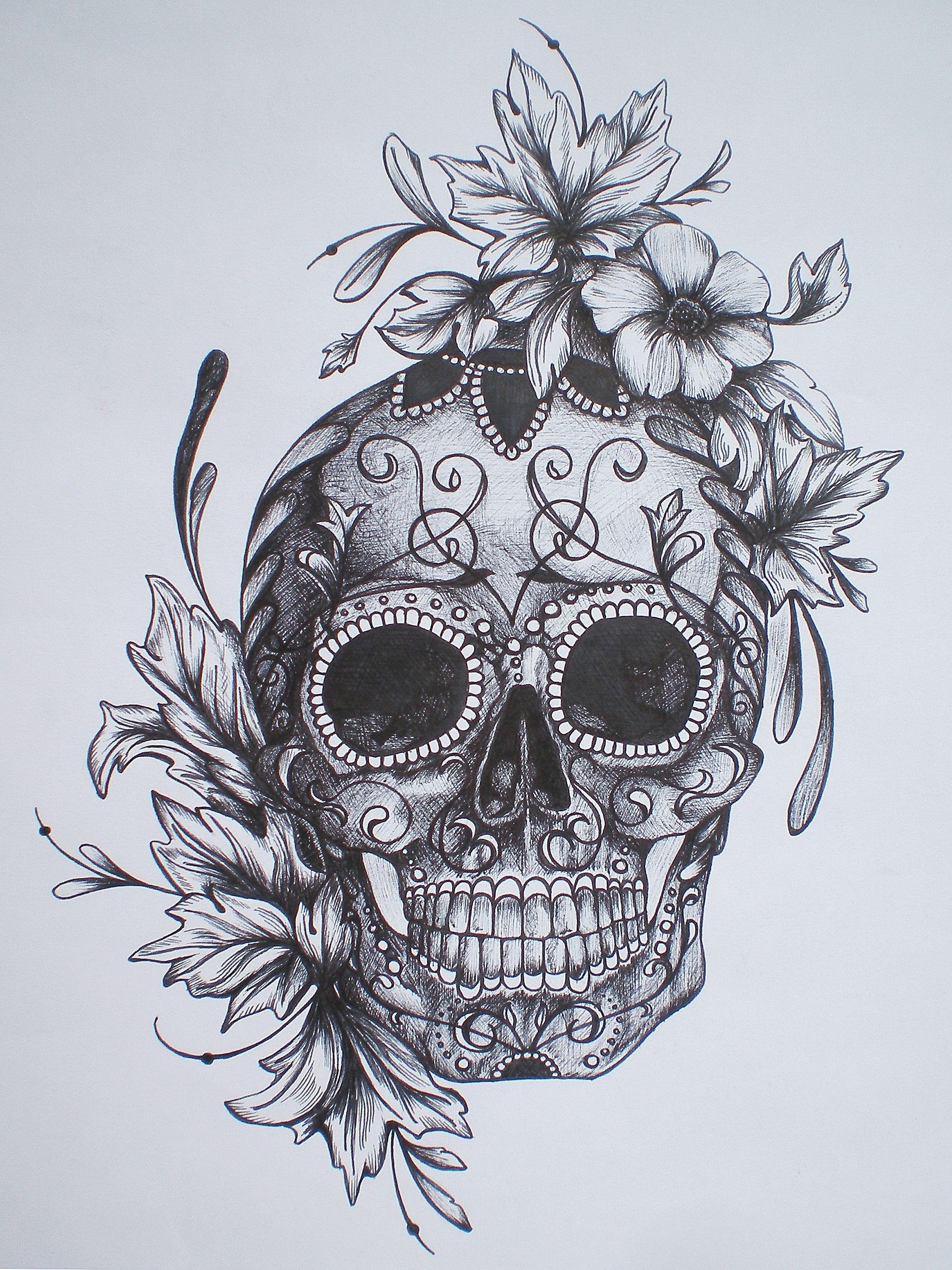 Nice 2448x3264 Sugar Skull Tattoo With Flowers