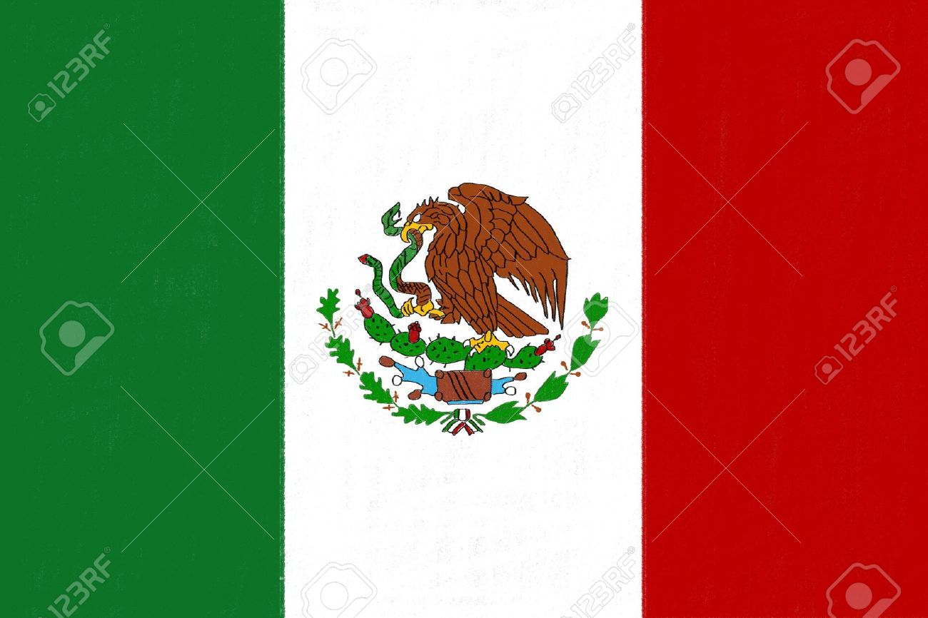1300x866 Mexico Flag Drawing By Pastel On Charcoal Paper Stock Photo