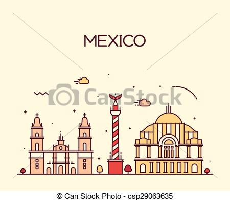 450x393 Mexico City Skyline Trendy Vector Line Art Style. Mexico