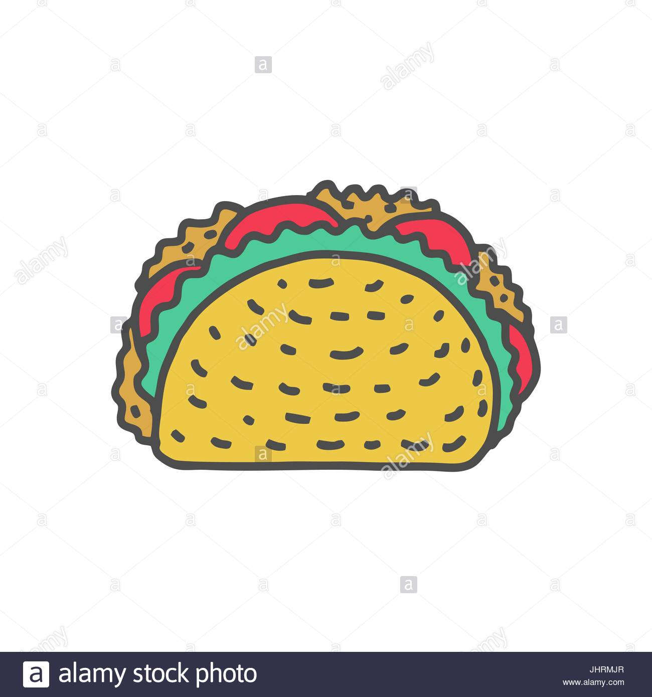1300x1390 Taco Drawing Isolated. Mexican Fast Food. Food From Mexico Tacos