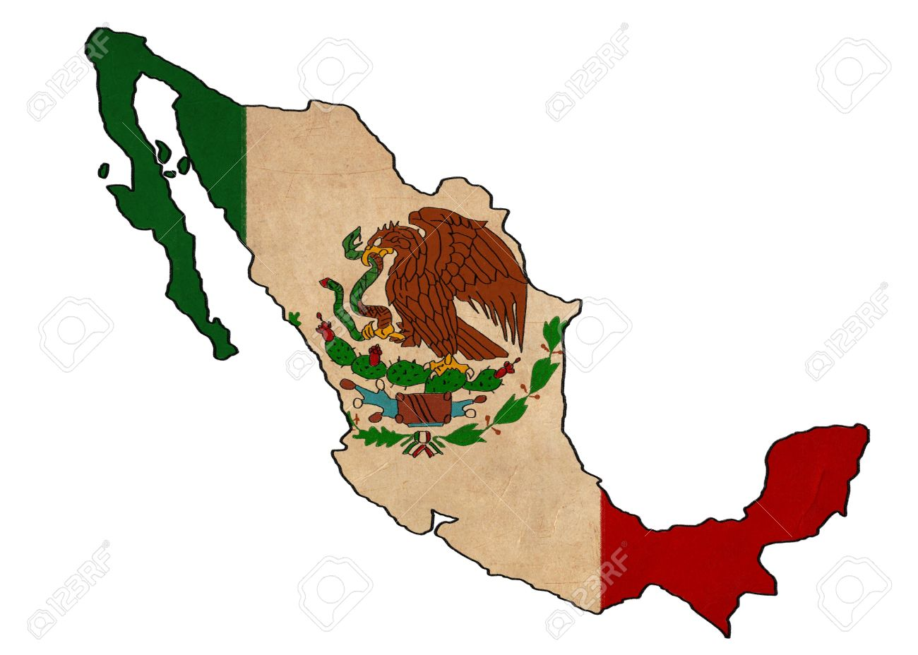 1300x928 Mexico Map On Mexico Flag Drawing ,grunge And Retro Flag Series
