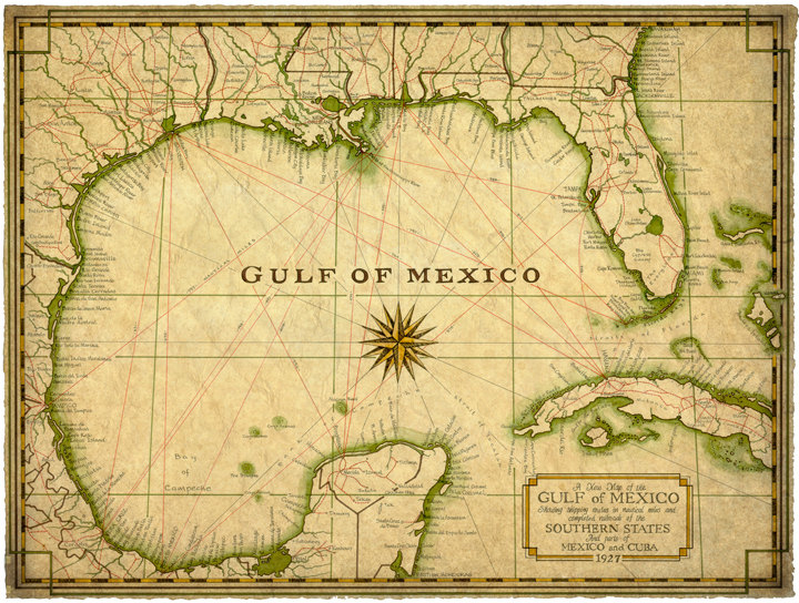720x544 Gulf Of Mexico Map Art C.1927 14 X 19 Map Old