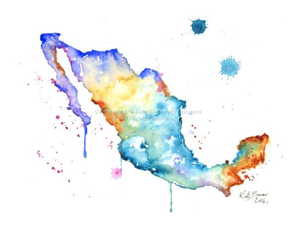 600x464 Map Watercolor Map Print