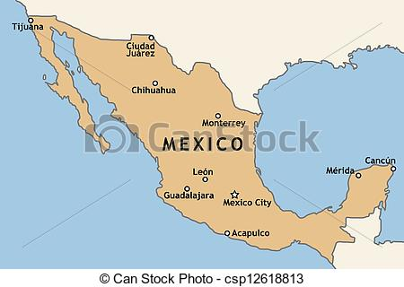 450x320 Map Of Mexico. Mexico Map With Major Mexican Cities Mexico