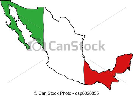 450x325 Mexico Flag Map. Map Of Mexico With Mexican Flag Colours Clipart