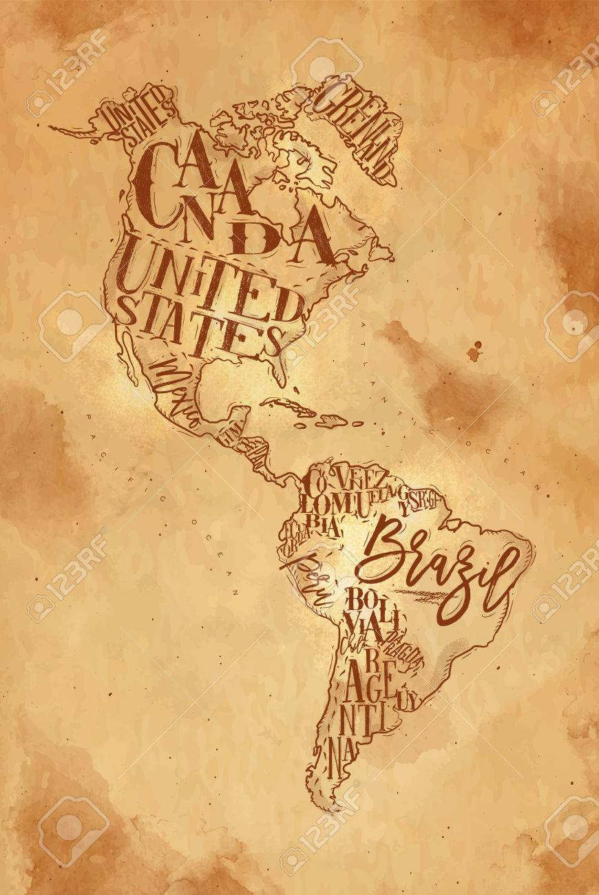 870x1300 Vintage America Map With Country Inscription United States, Canada