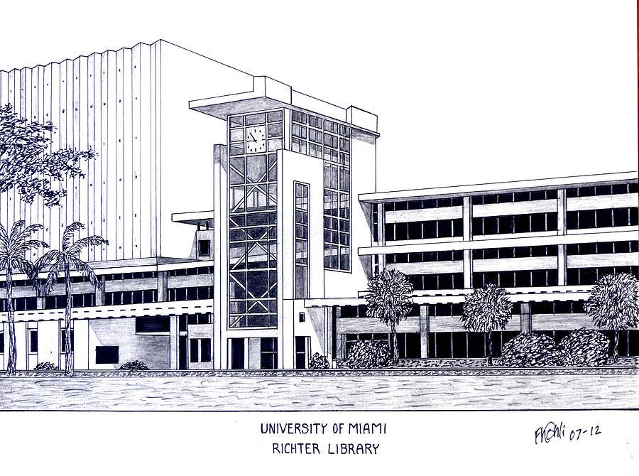 900x670 University Of Miami Drawing By Frederic Kohli