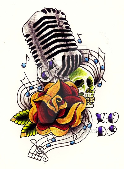 400x543 50's Mic Ft.rose And Skull By Vicki Death