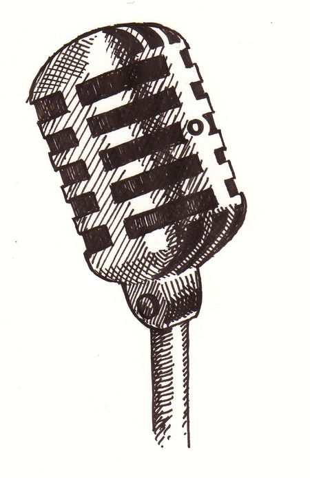 450x695 50's Microphone Graphic Fun With Art! Draw, Easy
