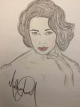 165x220 Michael Jackson Drawing Elizabeth Taylor. Michael Jackson
