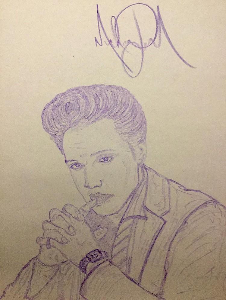 750x993 Jackson Drawing Of Elvis Presley.