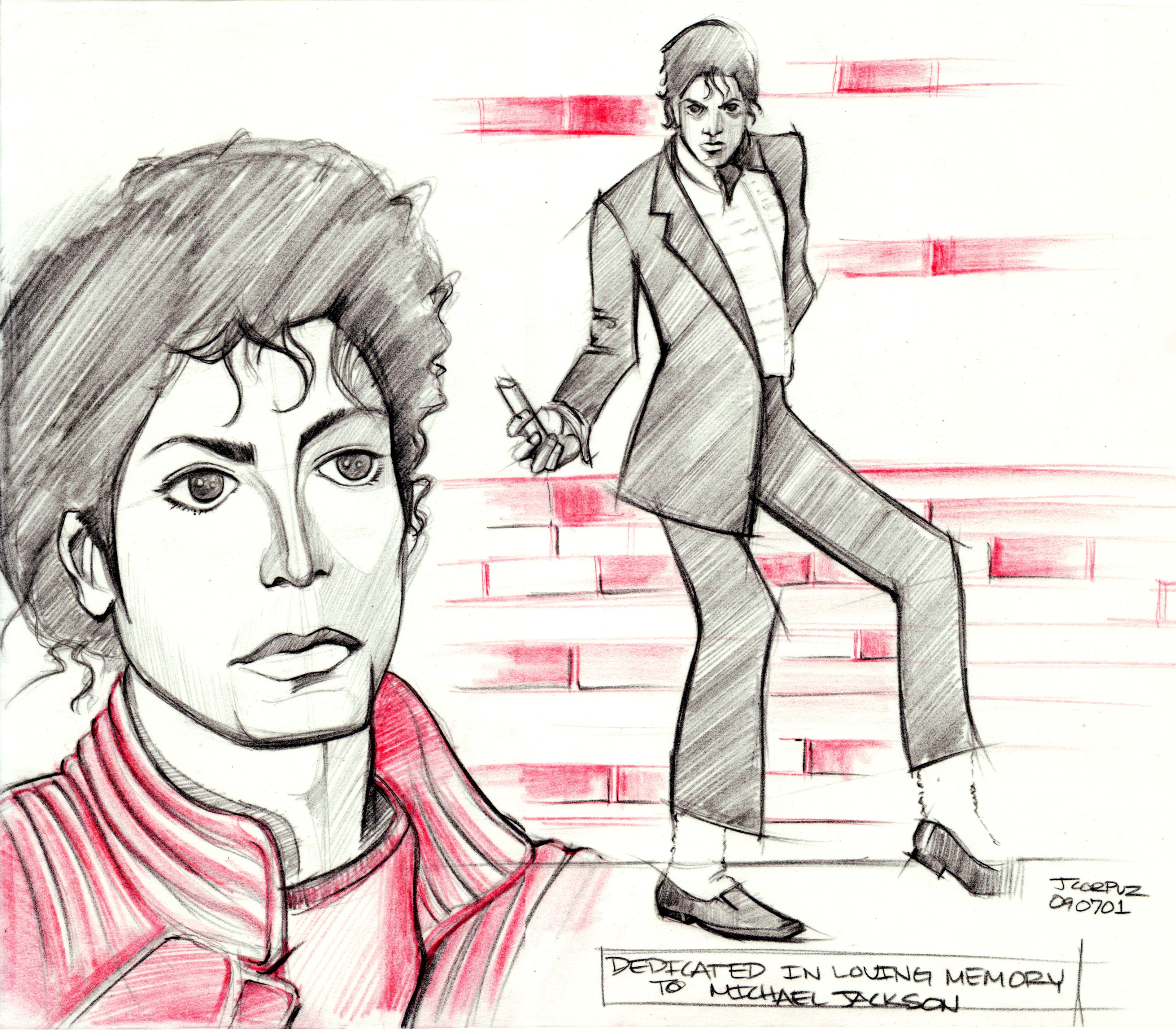 3798x3332 Michael Jackson Sketch Lineweights