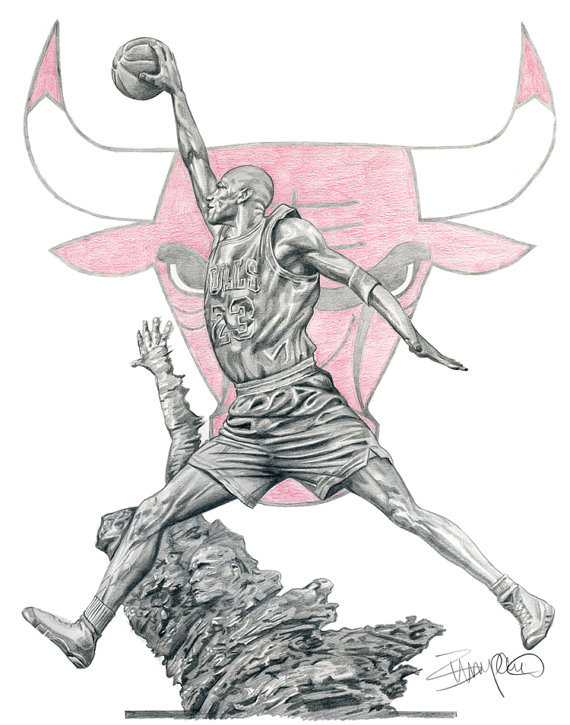570x725 Michael Jordan Statue Chicago Bulls Pencil Drawing