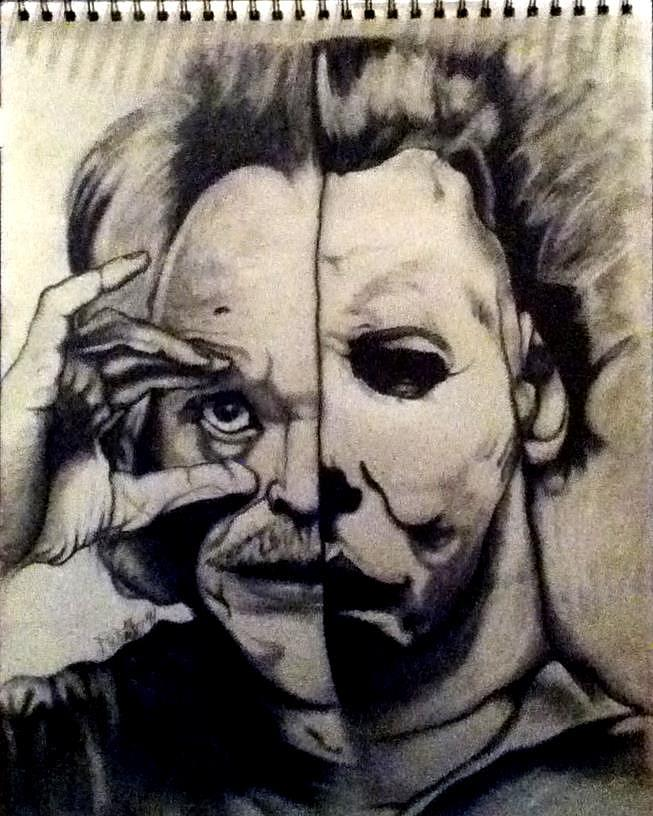 653x816 John Carpenter And Michael Myers Drawing By David Smith