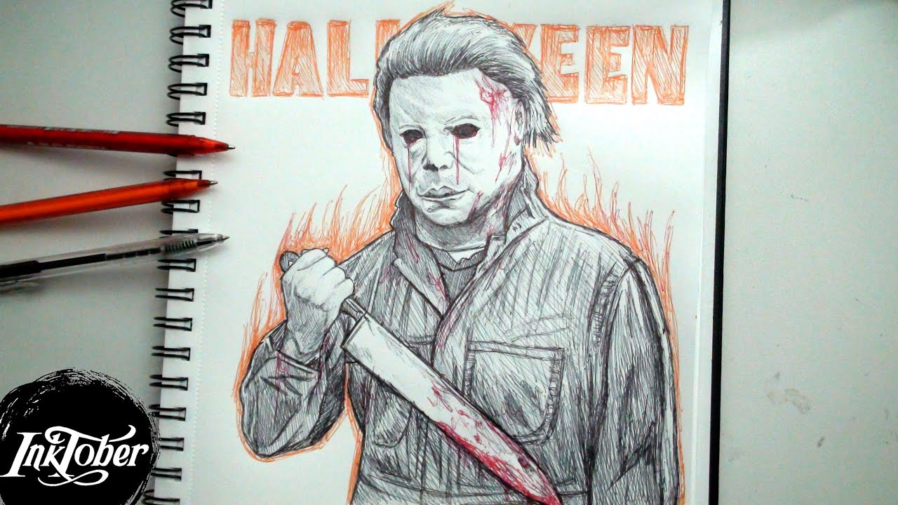 1280x720 Michael Myers Pen Drawing