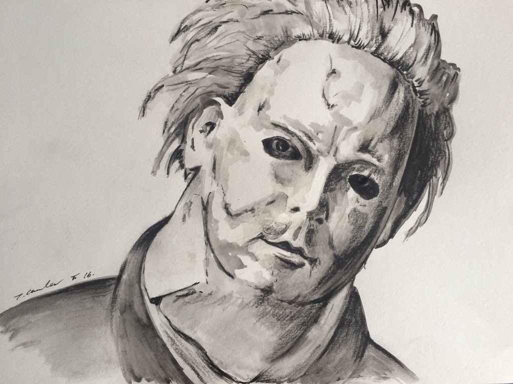 1024x768 Michael Myers Halloween Drawing Painting By Billyboyuk