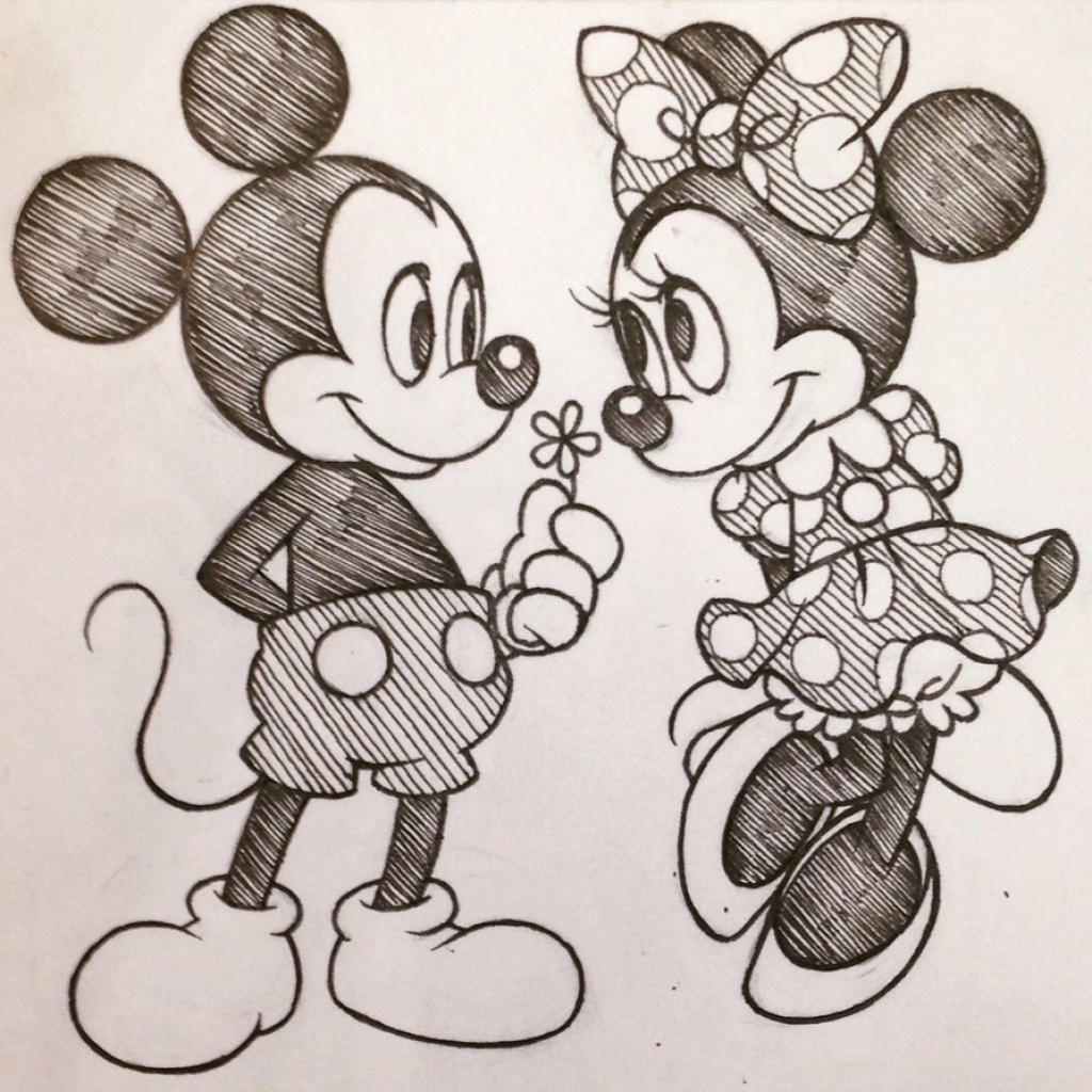 1024x1024 Gallery Pencil Drawings Of Mickey And Minnie Mouse Step By Step