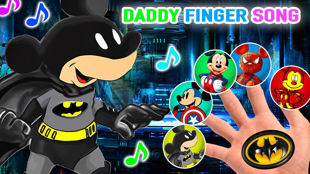 1280x720 Batman Mickey Mouse And Friends Drawing Daddy Finger Family Song