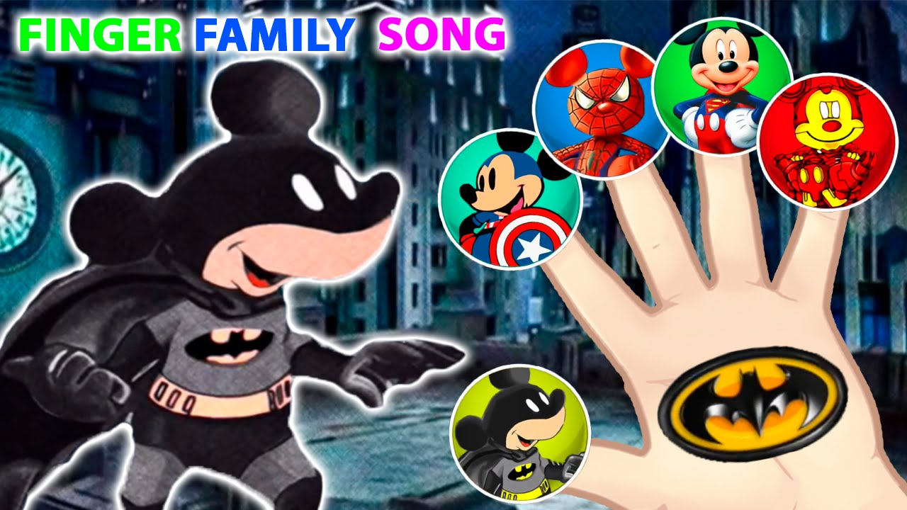 1280x720 Batman Mickey Mouse And Friends Drawing Finger Family Song! By