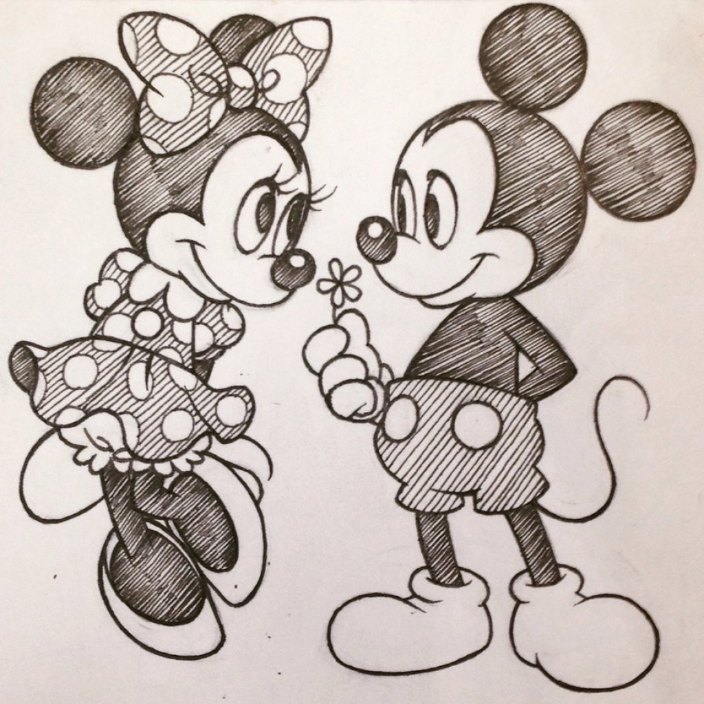 1024x1024 Mickey Mouse And Minnie Mouse Sketch