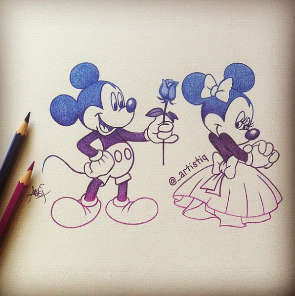 597x598 Mickey Mouse Amp Minnie Mouse (Drawing By Artistiq Art @instagram