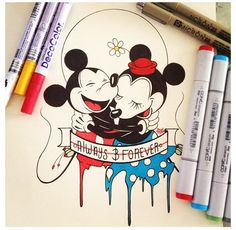 236x230 step by step chibi minnie and mickey mouse kissing drawings of