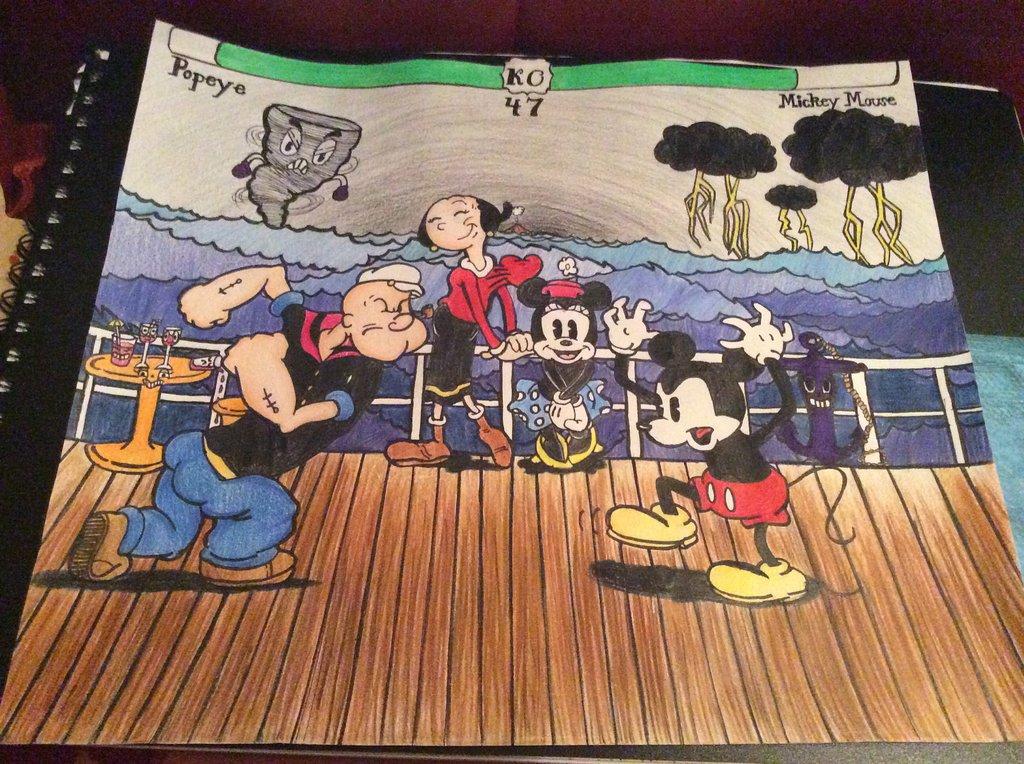 1024x764 Popeye Vs Mickey Mouse By Pokemonfan265