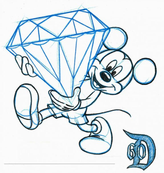 575x608 Artist's Sketch Of Mickey Mouse Carrying Enormous Diamond Fetes
