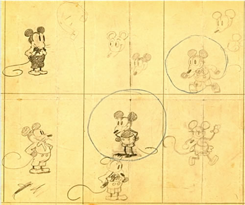 500x419 The Earliest Known Sketches Of Mickey Mouse