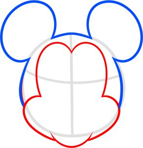 291x302 How To Draw Mickey Mouse For Kids Step 3 Rock Painting