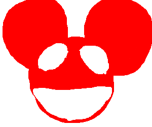 300x250 Dj With Red Mickey Mouse Head. (Drawing By Frank Zappa)