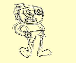 300x250 Man Has Mickey Mouse Hands And Cup For Head. (Drawing By