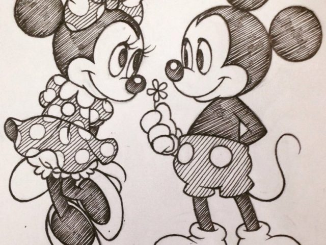 640x480 mickey mouse and minnie mouse sketch mickey mouse in pencil