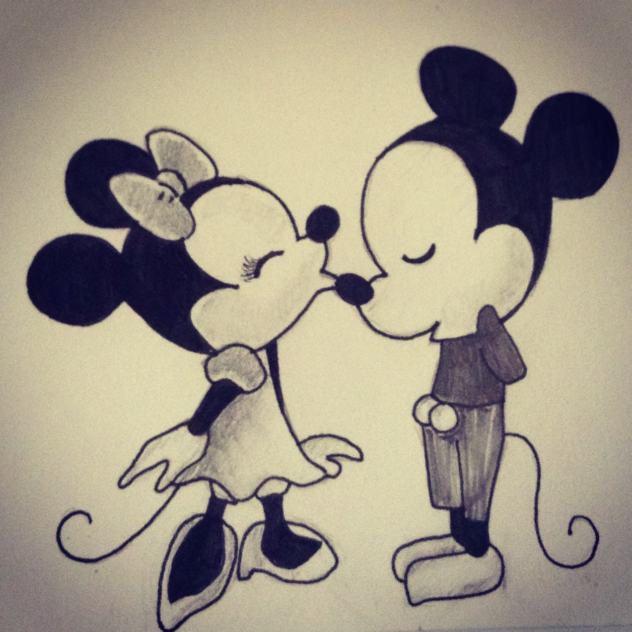 1273x1273 Mickey Mouse And Minnie Mouse Sketch Drawn Mouse Love