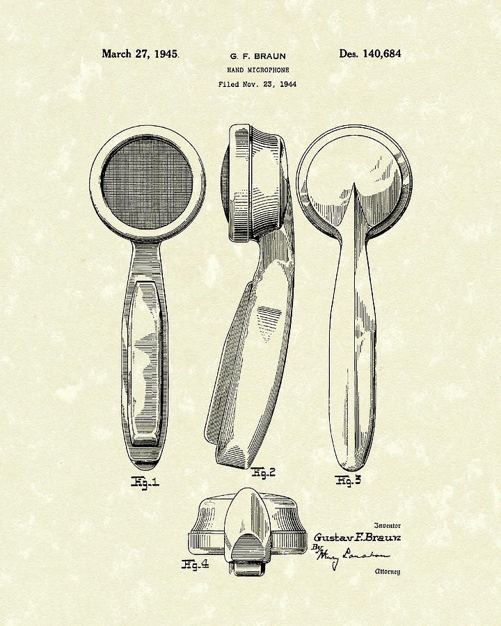 720x900 Microphone 1945 Patent Art Drawing By Prior Art Design