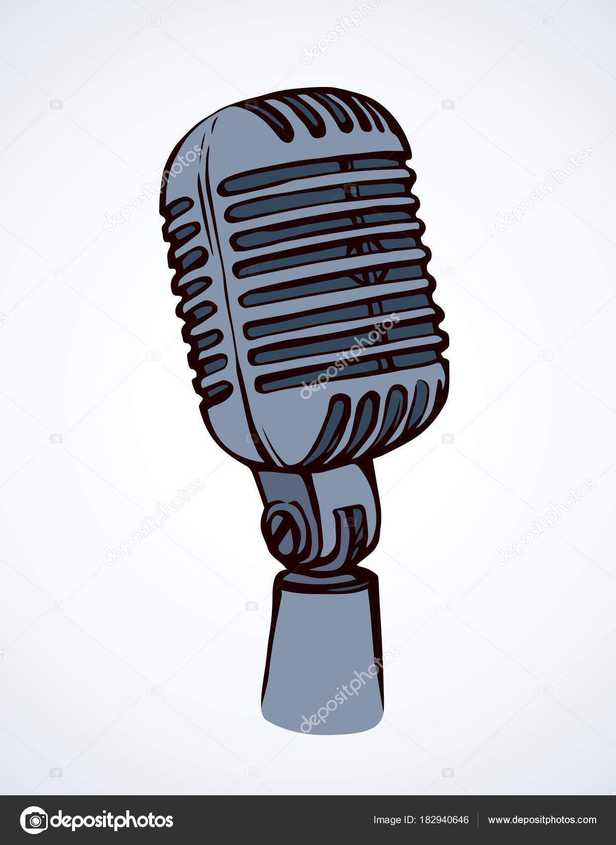 1239x1700 Microphone. Vector Drawing Stock Vector Marinka