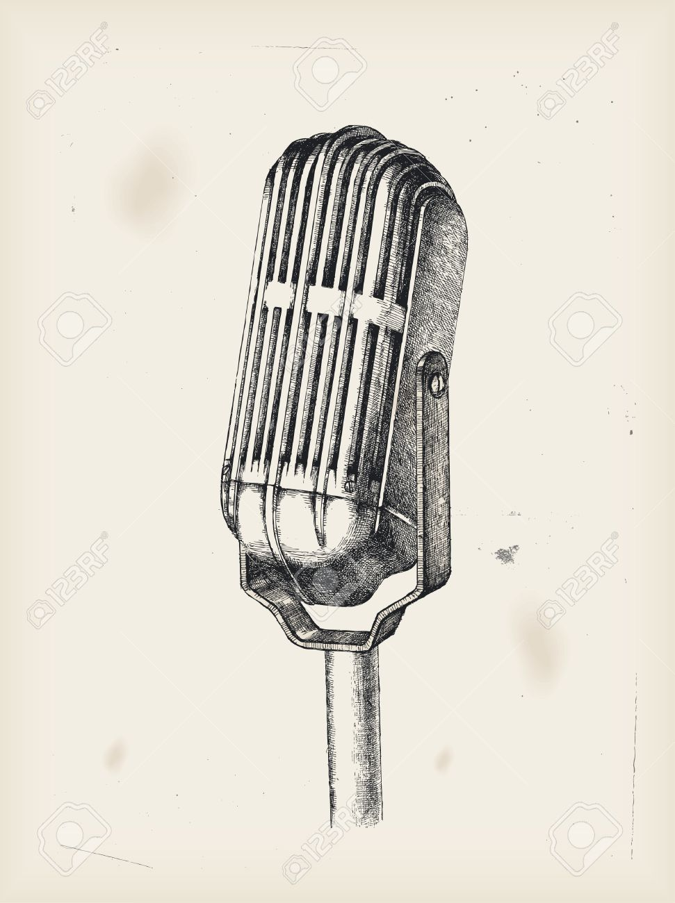 971x1300 Old Microphone Drawing Royalty Free Cliparts, Vectors, And Stock