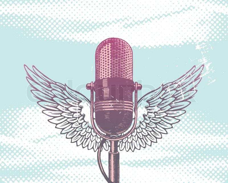 800x644 Vector Winged Hand Drawn Microphone Stock Vector Colourbox