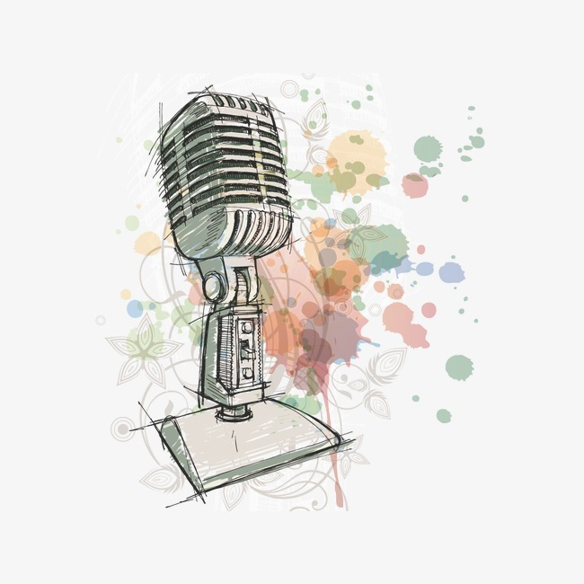 650x650 Watercolor And Microphone, Watercolor, Microphone, Drawing