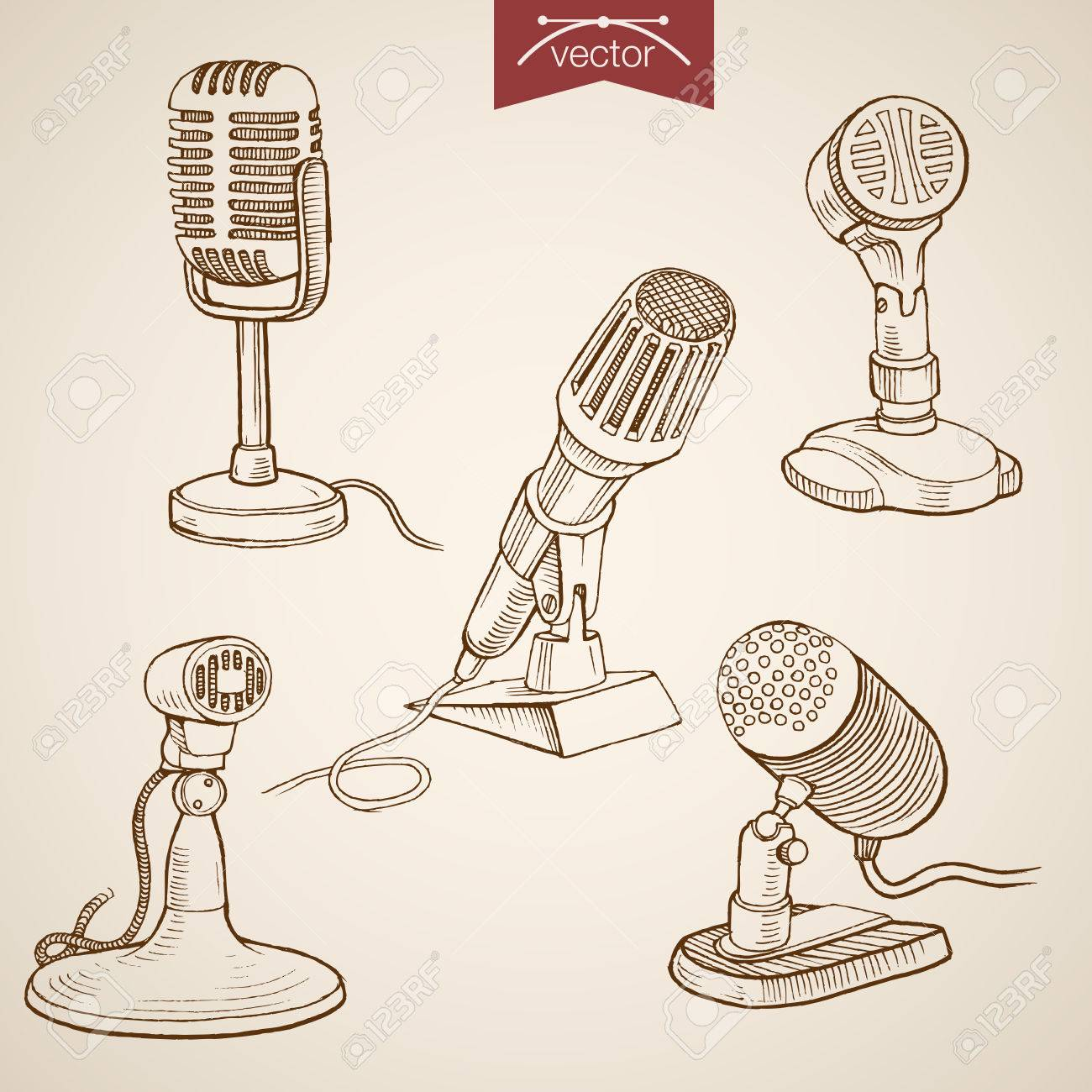 1300x1300 Engraving Vintage Hand Drawn Vector Retro Evolution Of Microphone