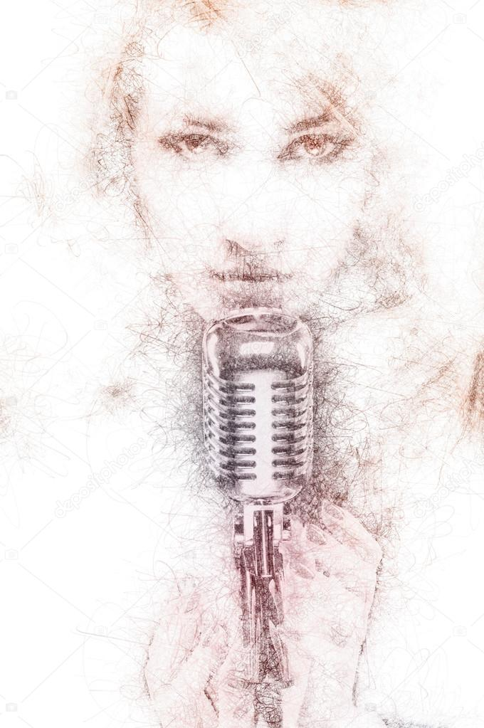 680x1023 Pencil Drawing Of A Beautiful Woman With A Microphone Stock