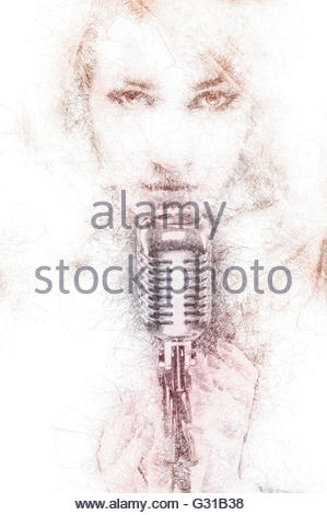 299x470 Silhouette Singer Woman With Retro Microphone Stock Photo