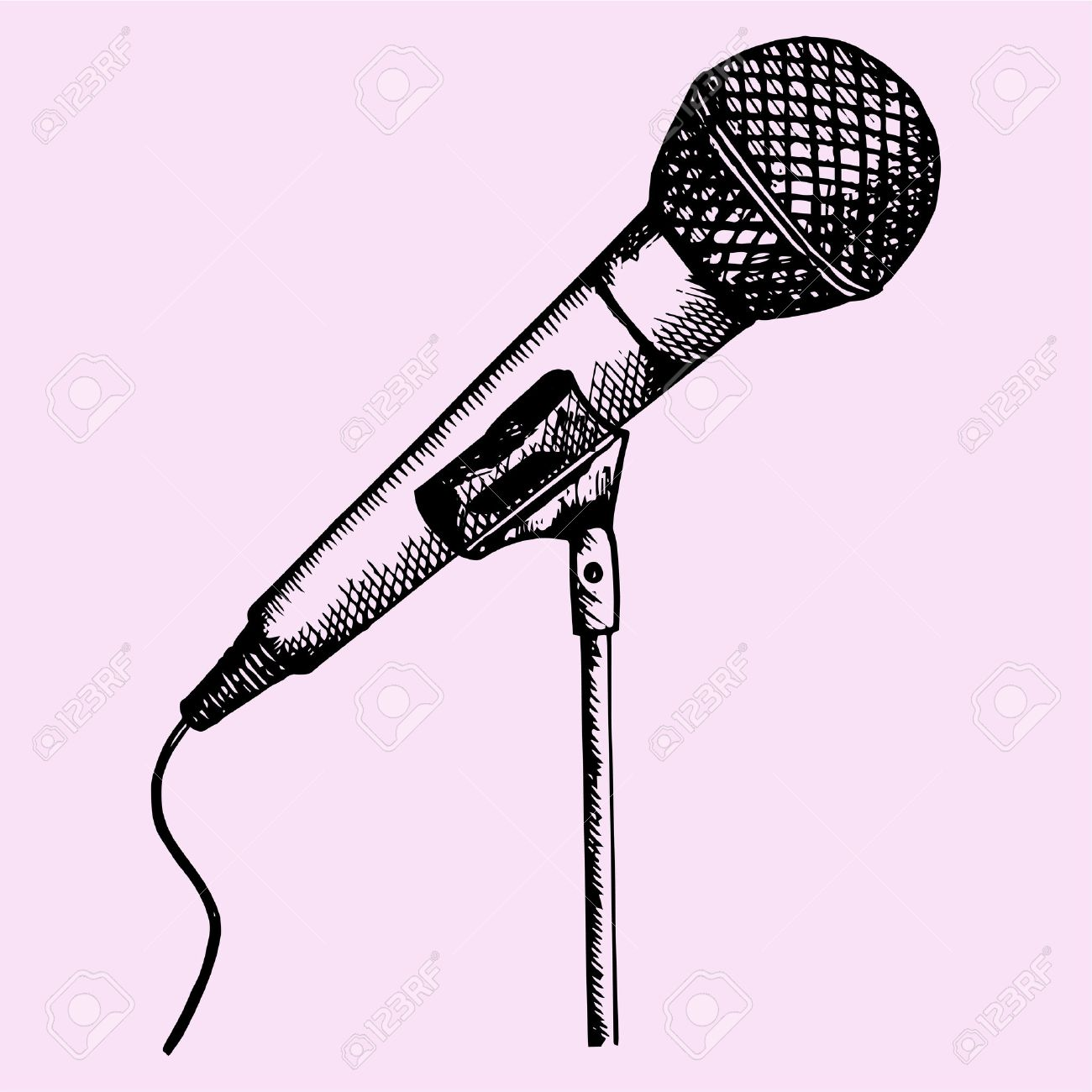 1300x1300 Microphone On A Stand, Doodle Style, Sketch Illustration, Hand