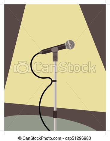366x470 Microphone On Stand, Stage Light, Live Performance Concept Vector