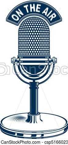 222x470 Retro Studio Microphone Vector Illustration. Radio Vectors