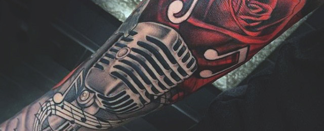 640x260 90 Microphone Tattoo Designs For Men