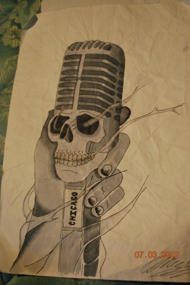 643x960 Chicago Microphone Tattoo Sketch Best Tattoo Designs